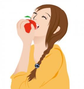 リンゴをかじる笑顔の女性 イラスト women_01